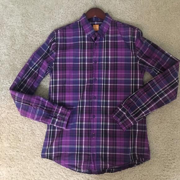 752126147 Hugo Boss Medium slim fit purple check print shirt.  M_5baecdde1b329471fb8c287c